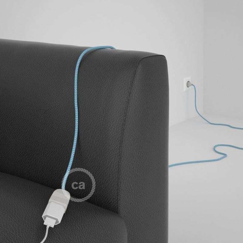 Alargador eléctrico con cable textil RZ11 Efecto Seda ZigZag Blanco Celeste 2P 10A Made in Italy.