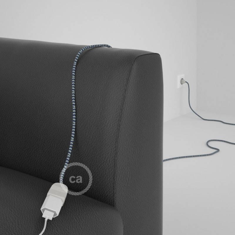 Alargador eléctrico con cable textil RZ12 Efecto Seda ZigZag Blanco Azul 2P 10A Made in Italy.