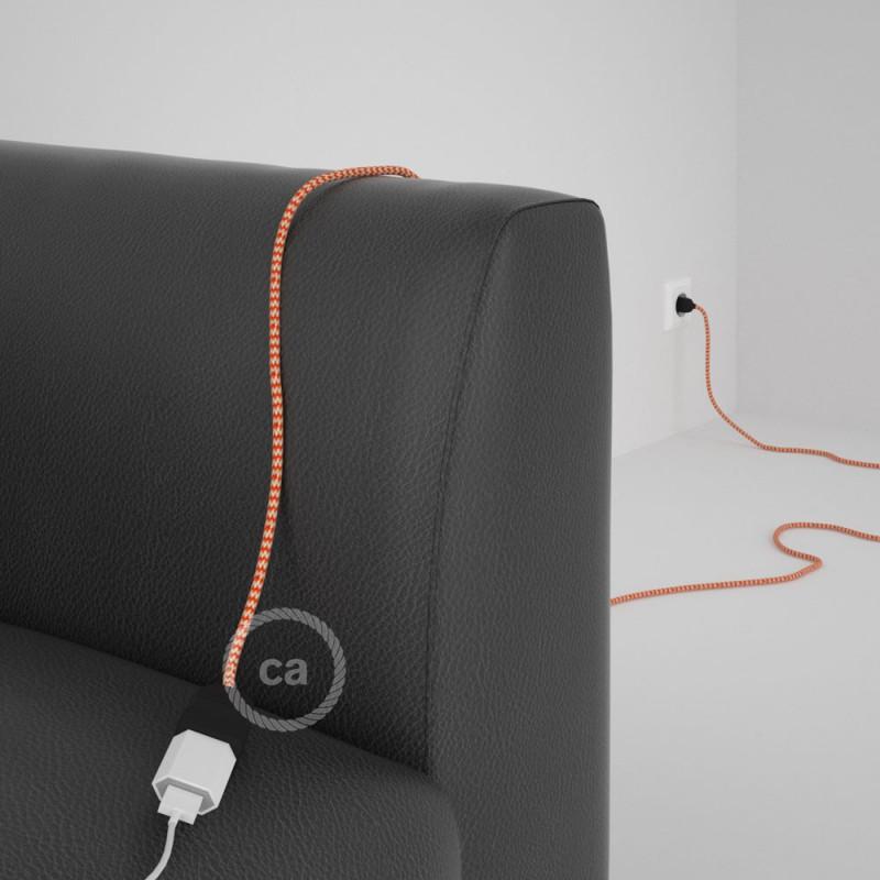 Alargador eléctrico con cable textil RZ15 Efecto Seda ZigZag Blanco Naranja 2P 10A Made in Italy.