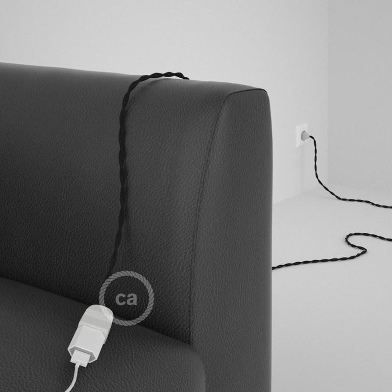 Alargador eléctrico con cable textil TC04 Algodón Negro 2P 10A Made in Italy.