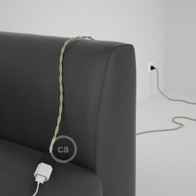 Alargador eléctrico con cable textil TC43 Algodón Gris Pardo 2P 10A Made in Italy.