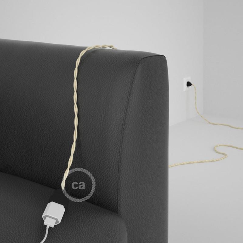 Alargador eléctrico con cable textil TM00 Efecto Seda Marfil 2P 10A Made in Italy.