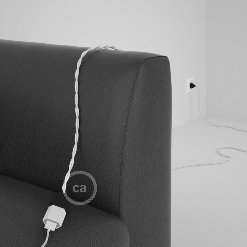 Alargador eléctrico con cable textil TM01 Efecto Seda Blanco 2P 10A Made in Italy.