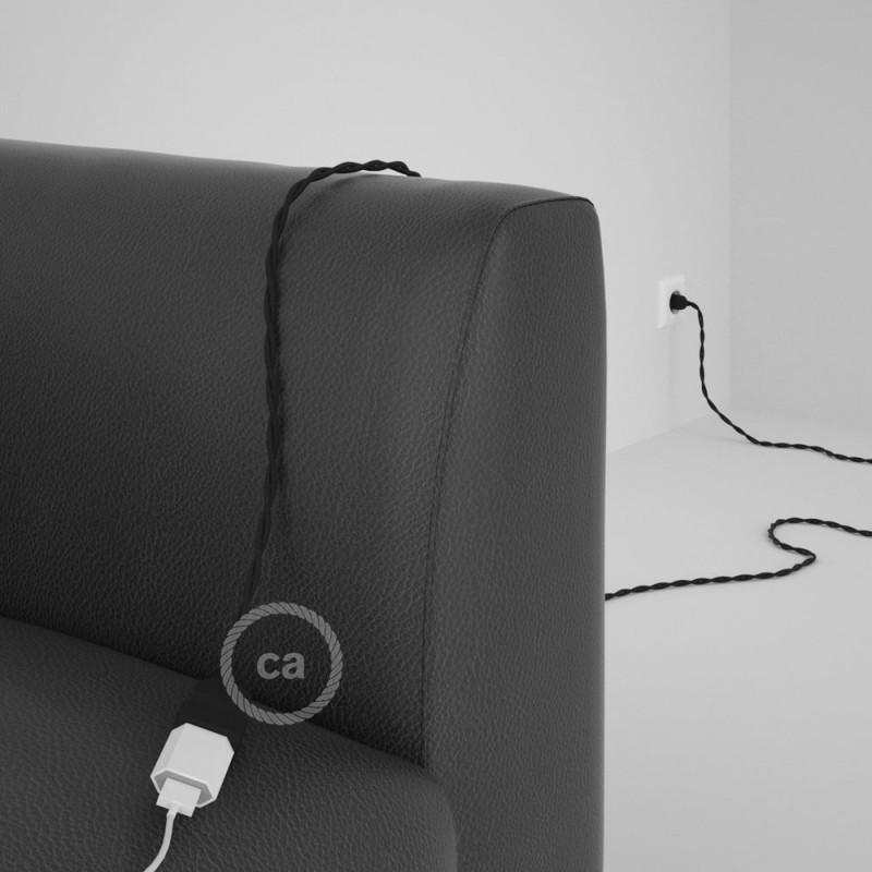 Alargador eléctrico con cable textil TM04 Efecto Seda Negro 2P 10A Made in Italy.