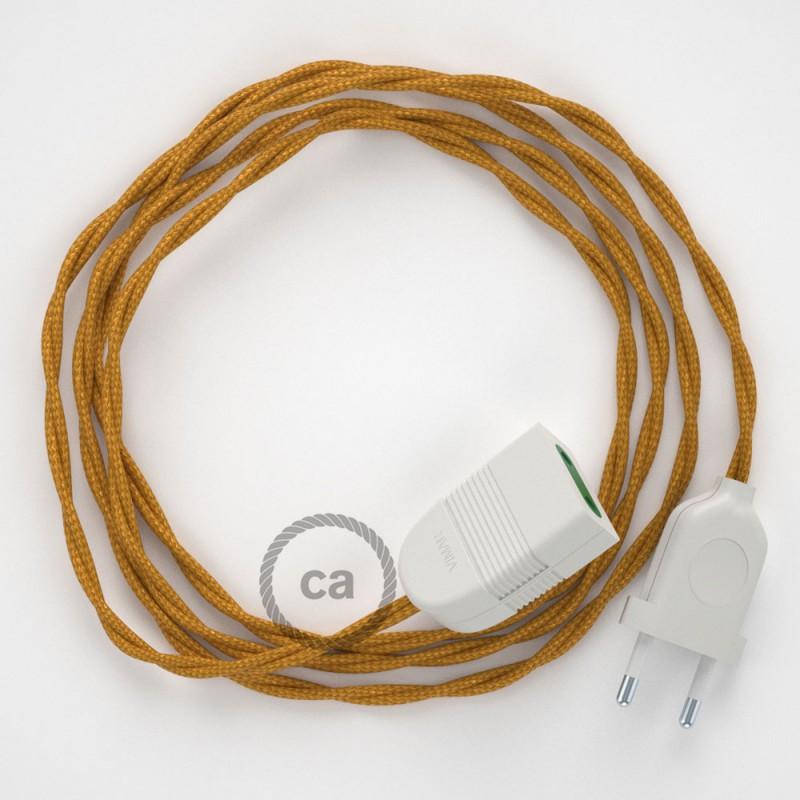 Alargador eléctrico con cable textil TM05 Efecto Seda Dorado 2P 10A Made in Italy.