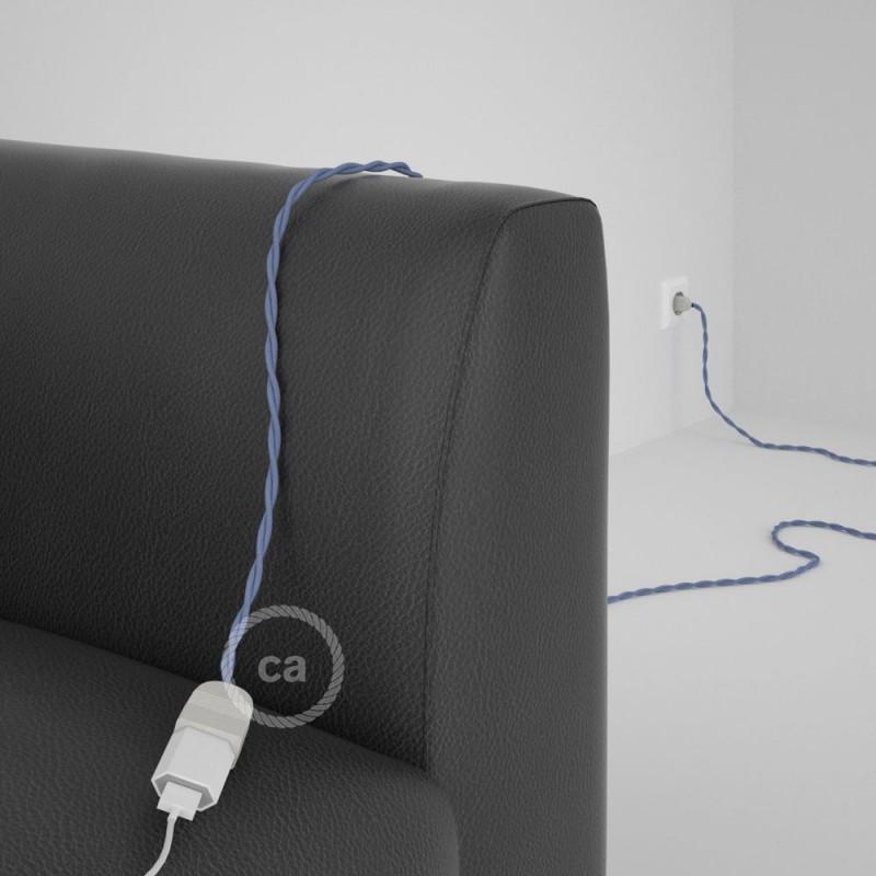 Alargador eléctrico con cable textil TM07 Efecto Seda Lila 2P 10A Made in Italy.