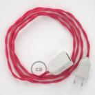 Alargador eléctrico con cable textil TM08 Efecto Seda Fuchsia 2P 10A Made in Italy.