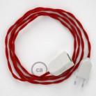 Alargador eléctrico con cable textil TM09 Efecto Seda Rojo 2P 10A Made in Italy.