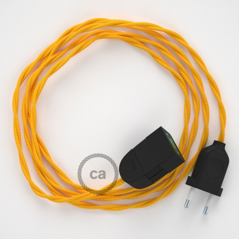 Alargador eléctrico con cable textil TM10 Efecto Seda Amarillo 2P 10A Made in Italy.