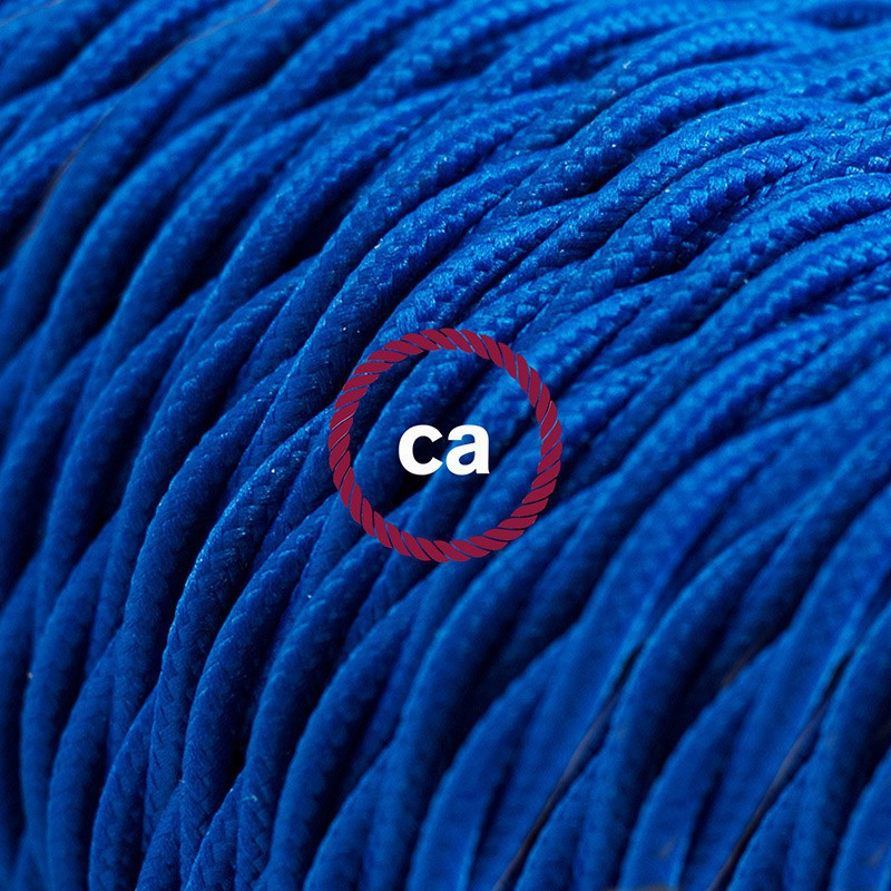 Alargador eléctrico con cable textil TM12 Efecto Seda Azul 2P 10A Made in Italy.