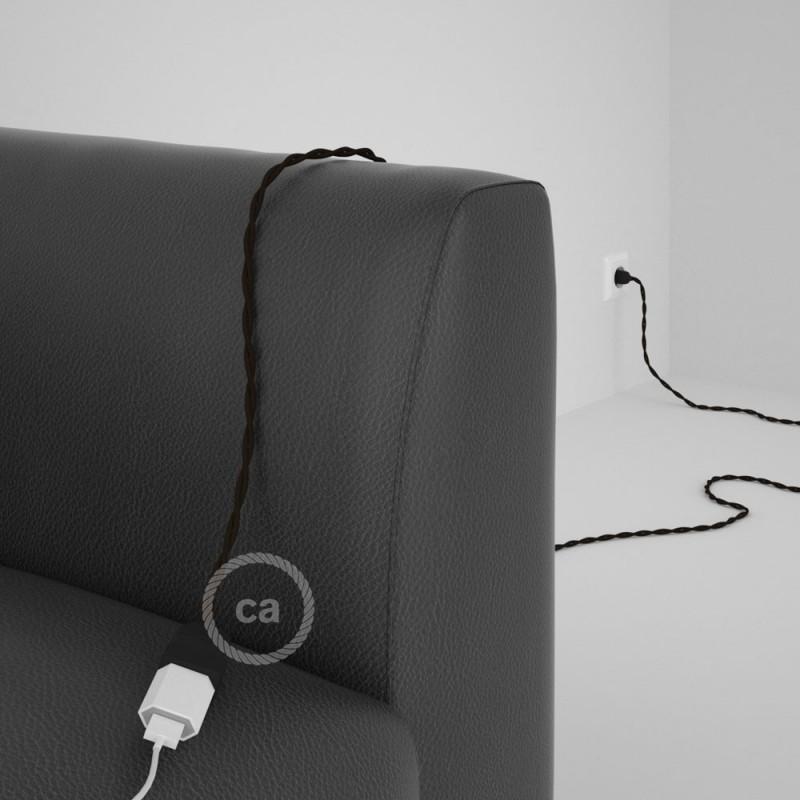 Alargador eléctrico con cable textil TM13 Efecto Seda Marrón 2P 10A Made in Italy.