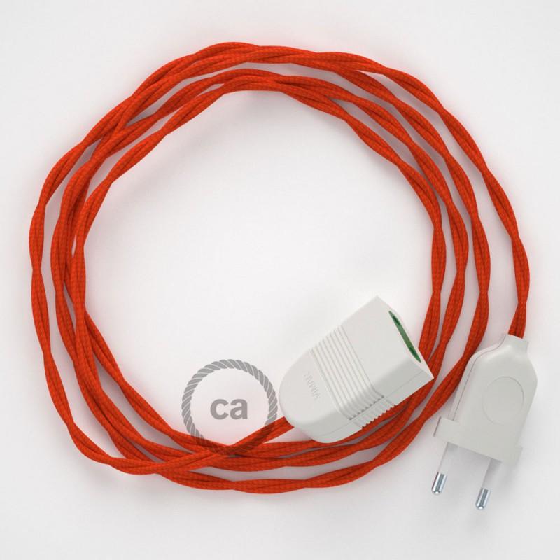Alargador eléctrico con cable textil TM15 Efecto Seda Naranja 2P 10A Made in Italy.