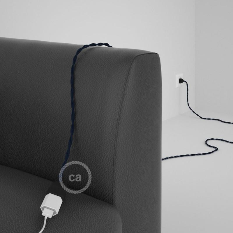 Alargador eléctrico con cable textil TN03 Lino Natural Antracita 2P 10A Made in Italy.