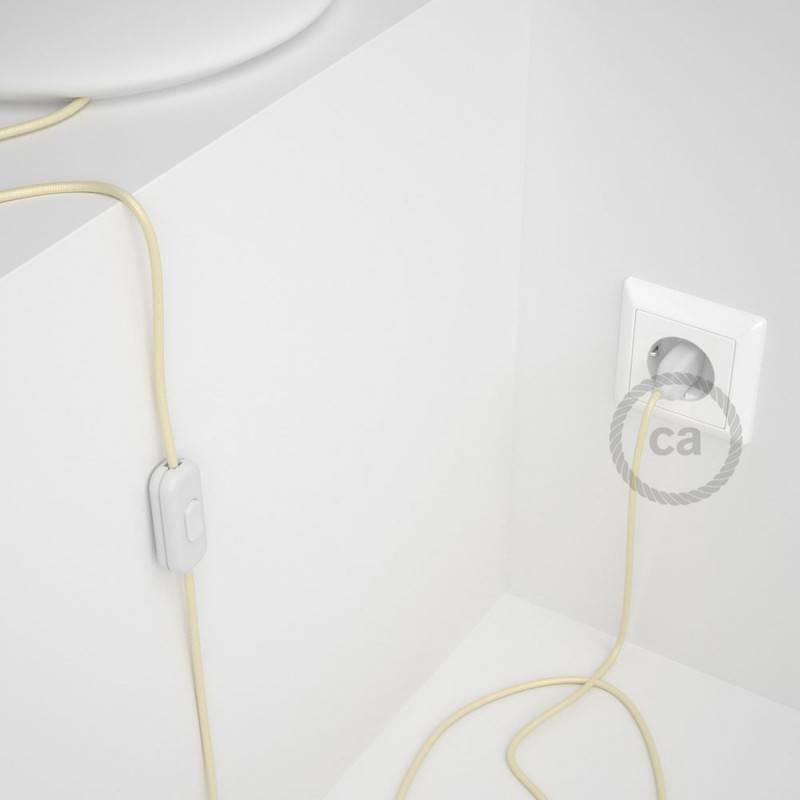 Cableado para lámpara, cable RM00 Efecto Seda Marfil 1,8m. Elige tu el color de la clavija y del interruptor!