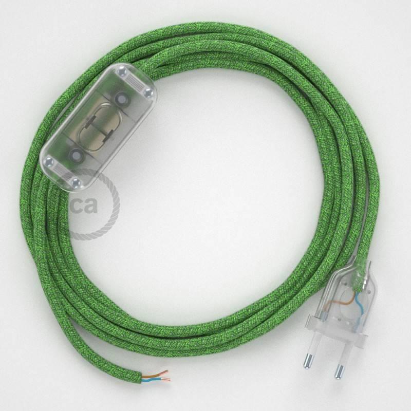 Cableado para lámpara, cable RX08 Algodón Bronte 1,8m. Elige tu el color de la clavija y del interruptor!