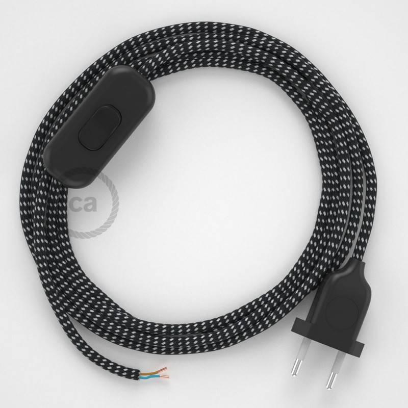Cableado para lámpara, cable RT41 Efecto Seda Estrellas 1,8m. Elige tu el color de la clavija y del interruptor!