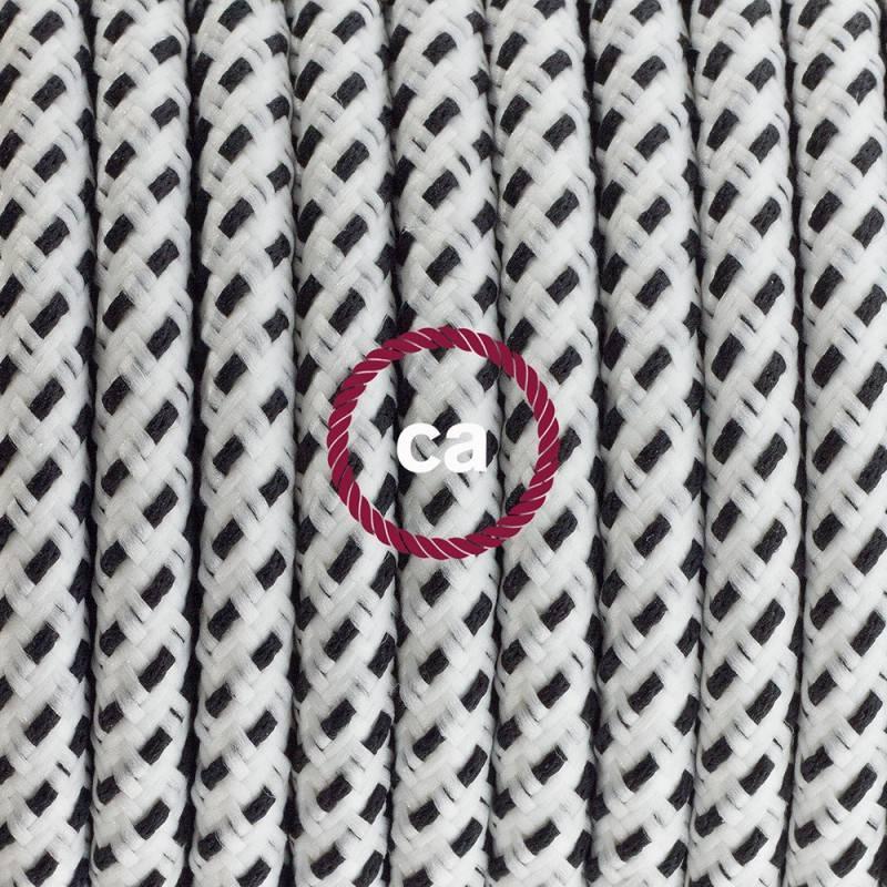 Cableado para lámpara, cable RT14 Efecto Seda Stracciatella 1,8m. Elige tu el color de la clavija y del interruptor!