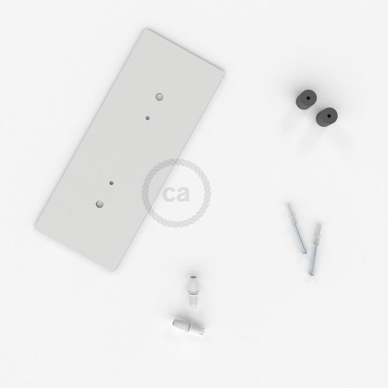 Rosetón XXL rectangular 30x12cm a 2 agujeros blanco completo de accesorios