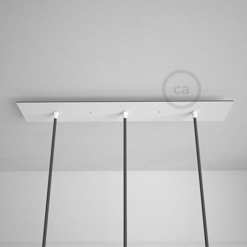 Rosetón XXL rectangular 60x12cm a 3 agujeros blanco completo de accesorios