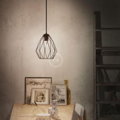 Jaula lámpara desnuda Gem metal Negro con portalámpara E27