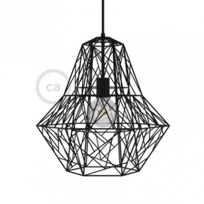 Jaula XXL lámpara desnuda Darth metal Negro con portalámpara E27