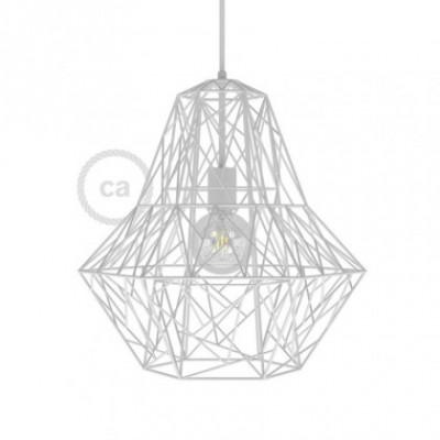 Jaula XXL lámpara desnuda Darth metal Blanco con portalámpara E27