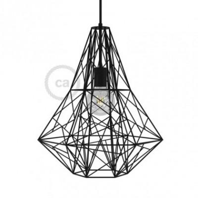 Jaula XXL lámpara desnuda Mercury metal Negro con portalámpara E27