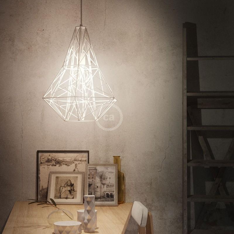Jaula XXL lámpara desnuda Mercury metal Blanco con portalámpara E27
