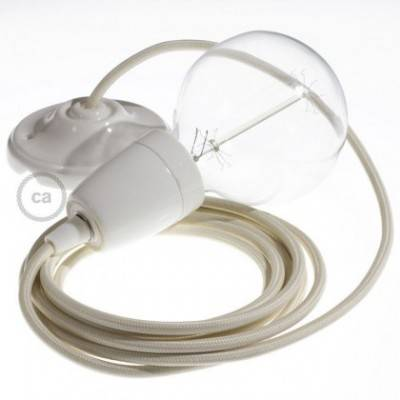 Pendel en porcelana, lámpara colgante cable textil Marfil en tejido Efecto Seda RM00