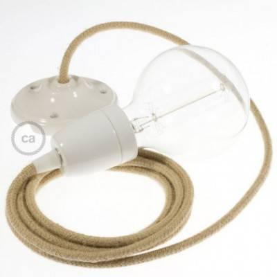 Pendel en porcelana, lámpara colgante cable textil en Jute RN06