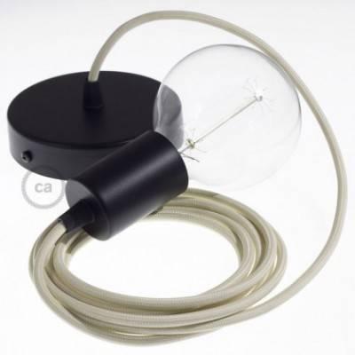 Pendel único, lámpara colgante cable textil Marfil en tejido Efecto Seda RM00