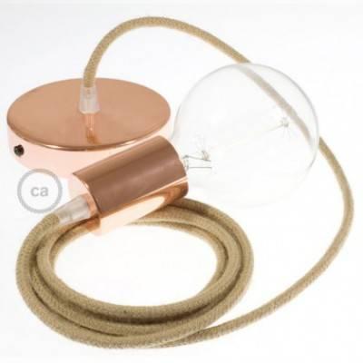 Pendel único, lámpara colgante cable textil en Jute RN06