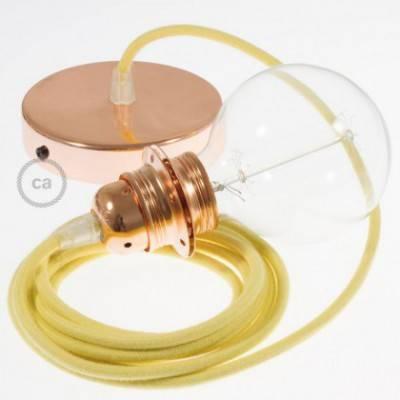 Pendel para pantalla, lámpara colgante cable textil Amarillo Pastel en Algodón RC10