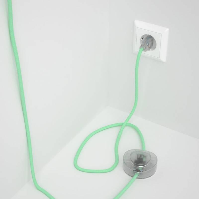 Cableado para lámpara de pie, cable RC34 Algodón Leche y Menta 3 m. Elige tu el color de la clavija y del interruptor!
