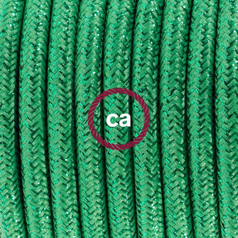 Cableado para lámpara de pie, cable RL06 Efecto Seda Glitter Verde 3 m. Elige tu el color de la clavija y del interruptor!
