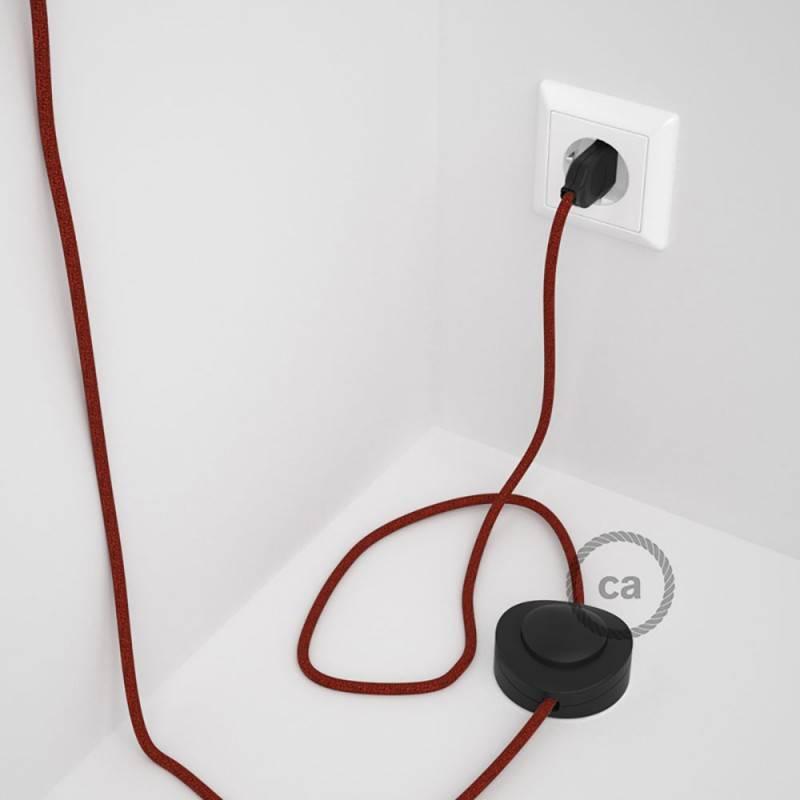 Cableado para lámpara de pie, cable RL09 Efecto Seda Glitter Rojo 3 m. Elige tu el color de la clavija y del interruptor!