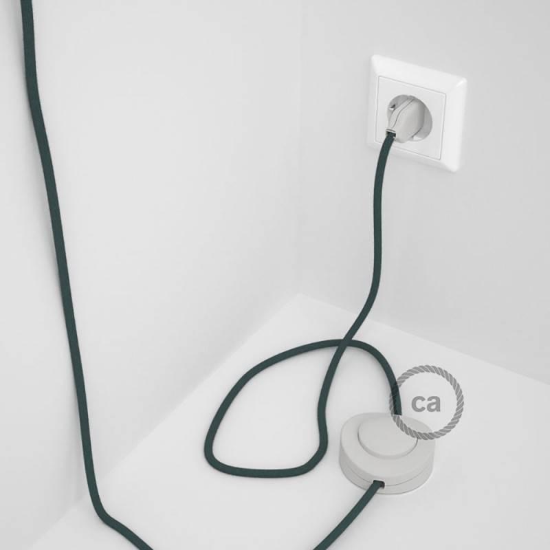 Cableado para lámpara de pie, cable RC30 Algodón Gris Piedra 3 m. Elige tu el color de la clavija y del interruptor!
