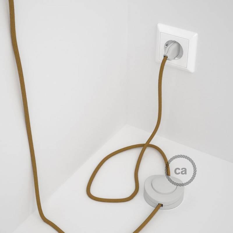 Cableado para lámpara de pie, cable RC31 Algodón Miel Dorado 3 m. Elige tu el color de la clavija y del interruptor!