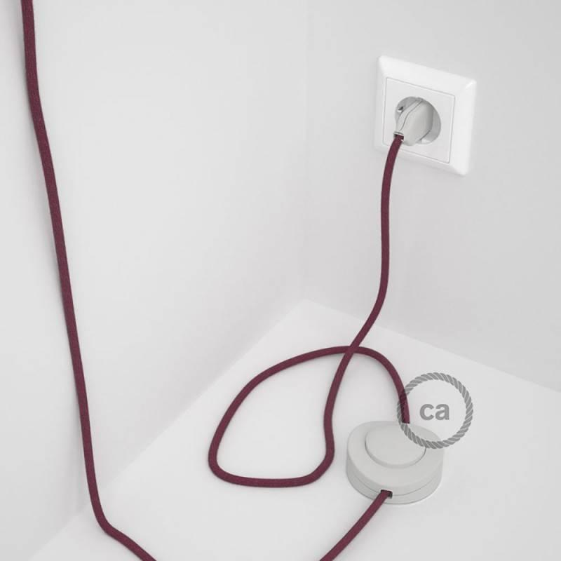 Cableado para lámpara de pie, cable RC32 Algodón Rojo Violeta 3 m. Elige tu el color de la clavija y del interruptor!
