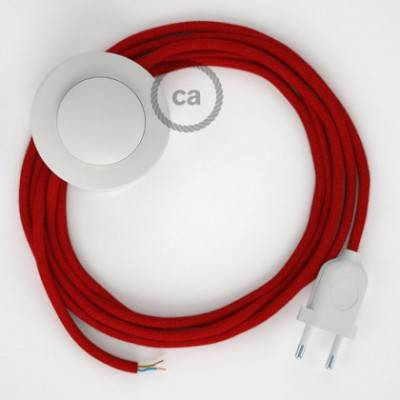 Cableado para lámpara de pie, cable RC35 Algodón Rojo Fuego 3 m. Elige tu el color de la clavija y del interruptor!