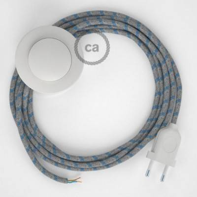Cableado para lámpara de pie, cable RD55 Stripes Azul Steward 3 m. Elige tu el color de la clavija y del interruptor!