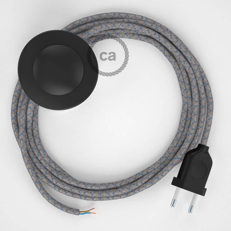 Cableado para lámpara de pie, cable RD65 Rombo Azul Steward 3 m. Elige tu el color de la clavija y del interruptor!