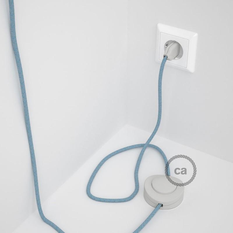 Cableado para lámpara de pie, cable RD75 ZigZag Azul Steward 3 m. Elige tu el color de la clavija y del interruptor!