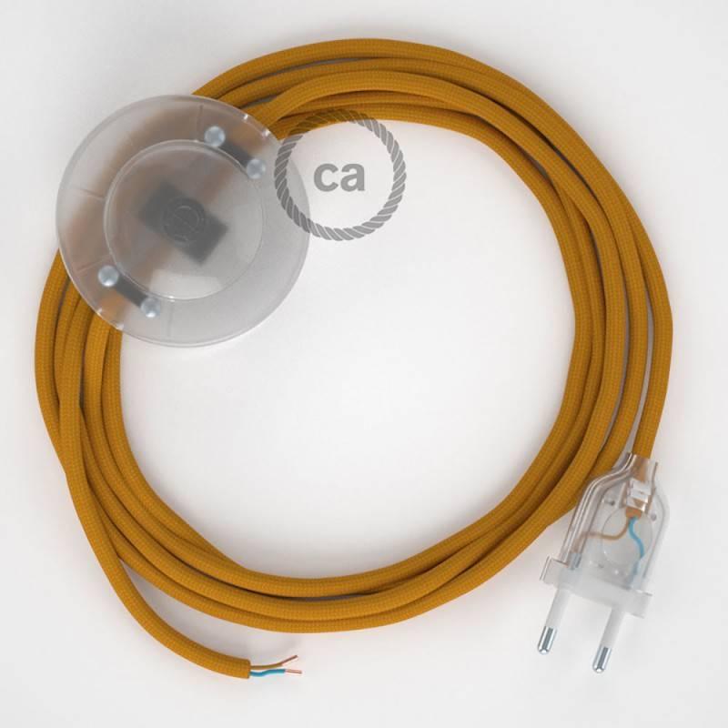 Cableado para lámpara de pie, cable RM25 Efecto Seda Mostaza 3 m. Elige tu el color de la clavija y del interruptor!