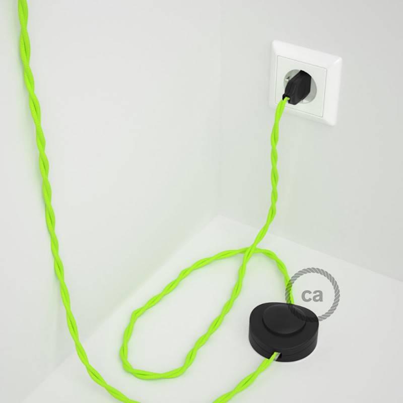 Cableado para lámpara de pie, cable TF10 Efecto Seda Amarillo Fluo 3 m. Elige tu el color de la clavija y del interruptor!