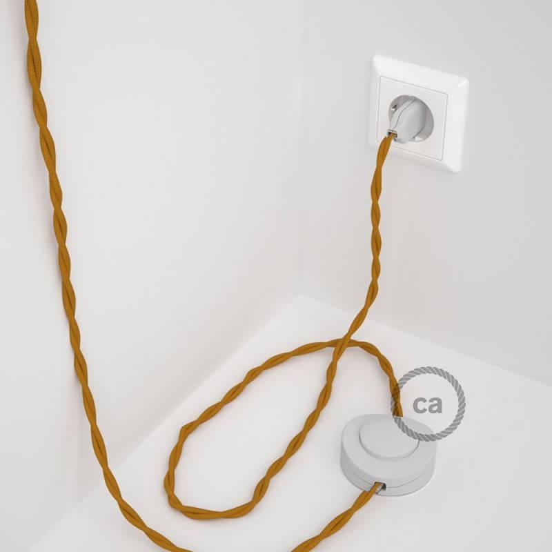 Cableado para lámpara de pie, cable TM25 Efecto Seda Mostaza 3 m. Elige tu el color de la clavija y del interruptor!