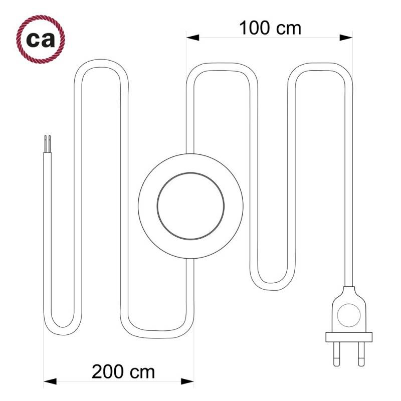 Cableado para lámpara de pie, cable RM26 Efecto Seda Gris Oscuro 3 m. Elige tu el color de la clavija y del interruptor!
