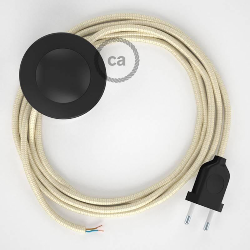 Cableado para lámpara de pie, cable RM00 Efecto Seda Marfil 3 m. Elige tu el color de la clavija y del interruptor!