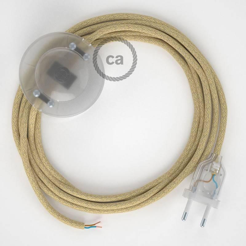 Cableado para lámpara de pie, cable RN06 Jute 3 m. Elige tu el color de la clavija y del interruptor!