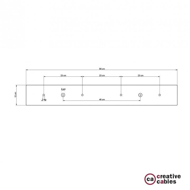 Rosetón XXL rectangular 90x12cm a 4 agujeros blanco completo de accesorios